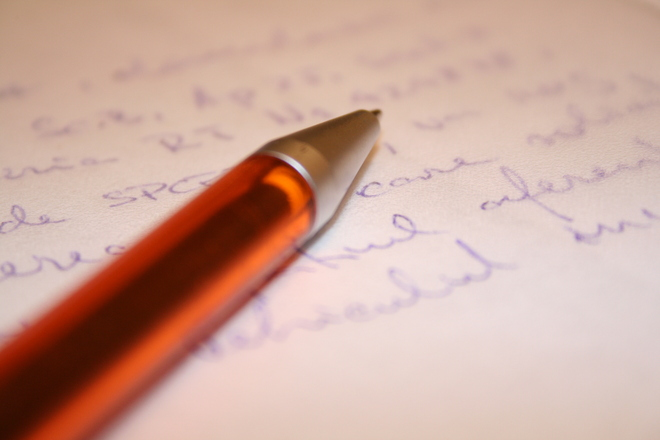 Pen and paper for messaging the author